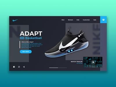 Nike Adapt BB | Landing page concept dark ui ui design graphic design nike running nike air max typography website minimal flat web branding ui nike shoes nike landingpage webdesign uiux