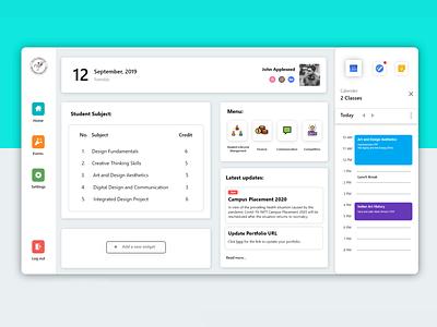 Student Dashboard UI | NIFT CMS cms college student modern minimal graphic design uiux web design