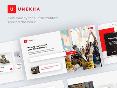 UNEKHA: Online community for creators website design logo design branding app creators graphic design interaction design minimal modern uiux webdesign
