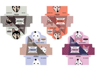 Nyla's Fresh Chewing Gum designing shiba dog brand illustration design package design