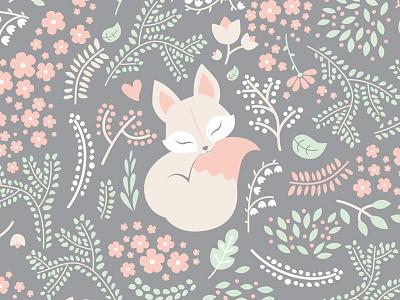 Sleeping Fox forest spoonflower textile flowers foliage pastel grey floral pattern fox