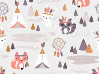 Tribal Woodland - textile nursery pattern design