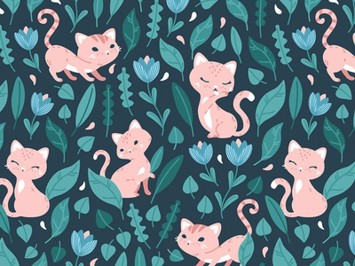 Oh, hello cats! Textile pattern design pattern design vector illustration vector animals nursery children pattern textile vector cats cat
