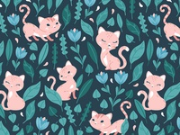 Oh, hello cats! Textile pattern design