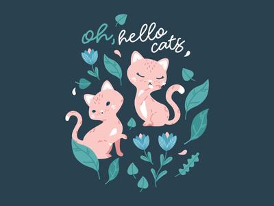 Oh, hello cats! Spot illustration vector illustration vector cat vector pattern design textile pattern children pattern cat illustration cats cat