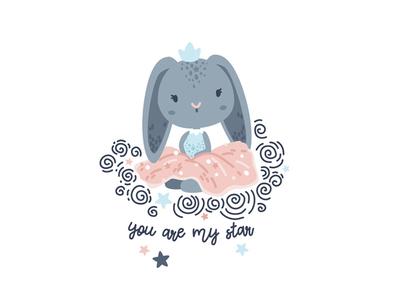 You Are My Star scandinavian illustration girl illustration nursery decor textile pattern pattern design children illustration bunny illustration nursery bunny