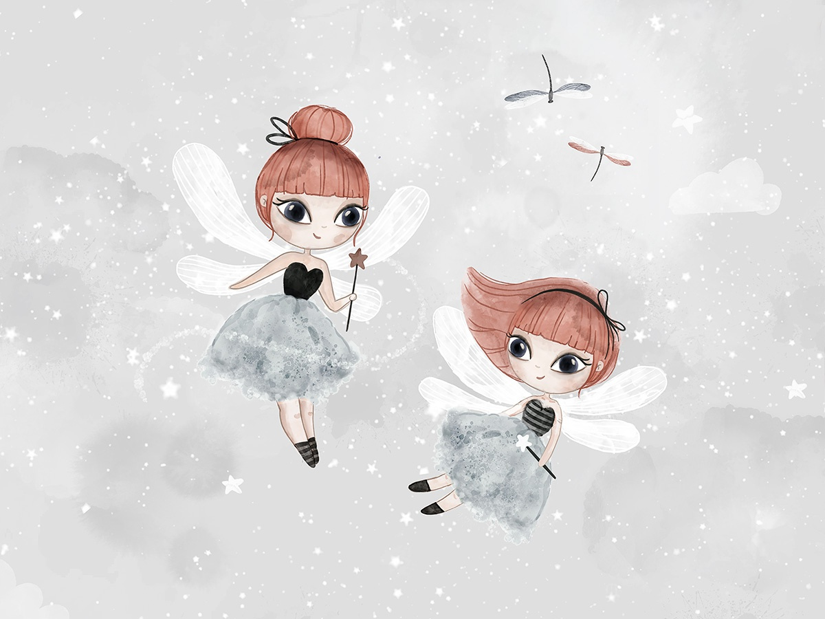 Dance with fairies procreate watercolor fairy nursery character children pattern pattern design textile illustration