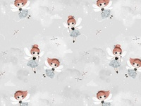 Dance with fairies girl fairy nursery character children pattern pattern design textile illustration