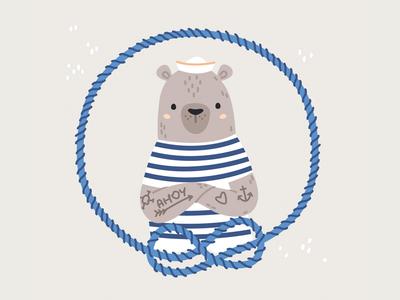 Ahoy captain seaside children cute grey sailor tattoos animals bear marines sea