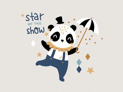 Circus panda nursery pattern design character children hat umbrella stars adorable cute animals animal panda circus