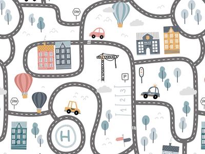 City roads nursery cute illustration buidings police houses pattern design children city illustration cars roads city