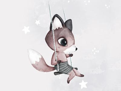 Living Fantasy Fox swing character children watercollor animal illustration stars animals cute animal fox