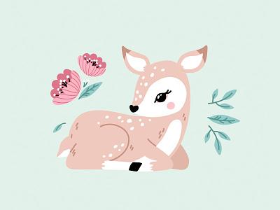 Spring Deer nursery pattern design children deer illustration leaves cute flowers spring animal deer