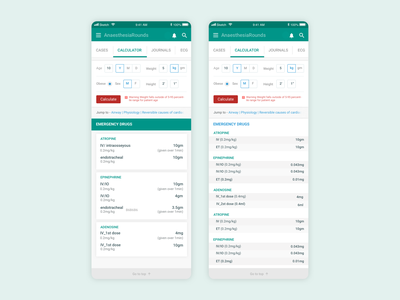anesthesia rounds calculator medical app design minimal clean ux ui mobile