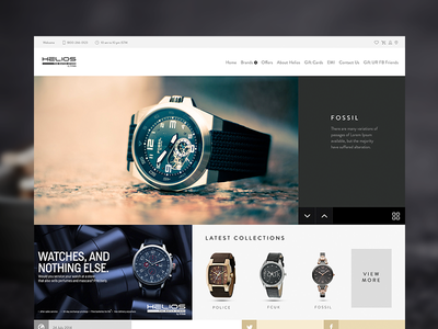 Helios Watch Store home page landing minimal ui clean redesign website titan helios watches