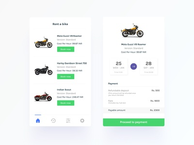 Rent a bike mobile app design book bike book online minimal clean ux ui