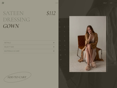 LOUNGEWEAR / Product Page dressing trendy minimalistic online store clothes shop clothes woman shop e-comerce product product page interaction design interaction