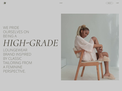 LOUNGEWEAR / About Us page trendy online shop animation ecommerce ui design product women e-commerce shop interaction design interaction minimalistic minimal about page about us about