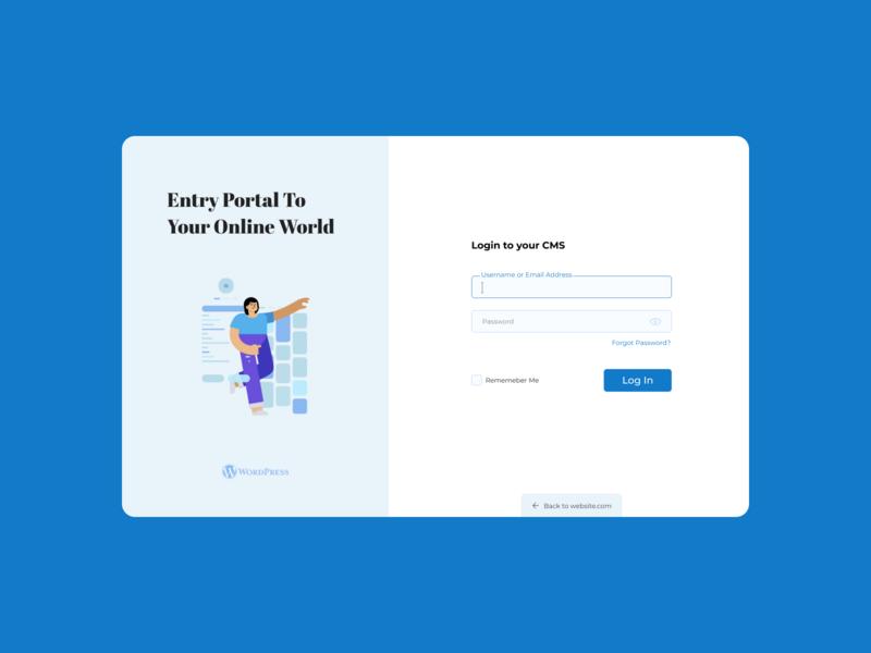 WordPress CMS Login Redesign | #dribbbleweeklywarmup figma weeklywarmup wordpress login design