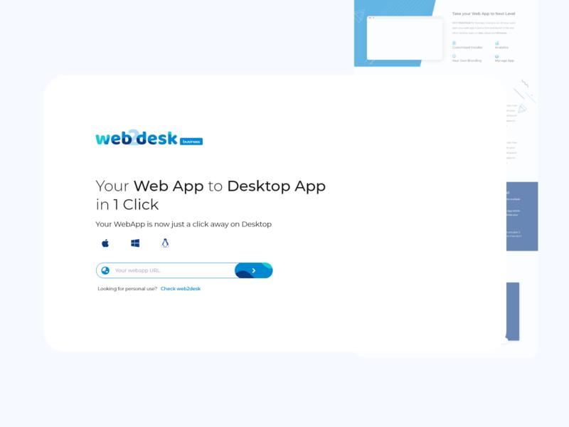 web2desk landing page minimalistic appmaker desktop landing page minimal design adobe xd