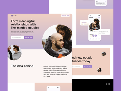 Vivida App Landing Page dating app gradients layout ui design app design webflow web design