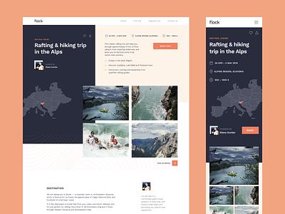Flock Trip Details Page design trip pastel layout ui design ux design travelling interface design