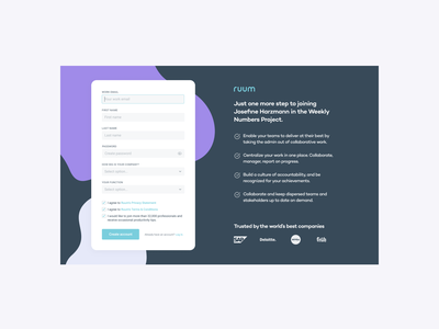 Ruum / Sign up Form project management sign up page clear design ux design ui design