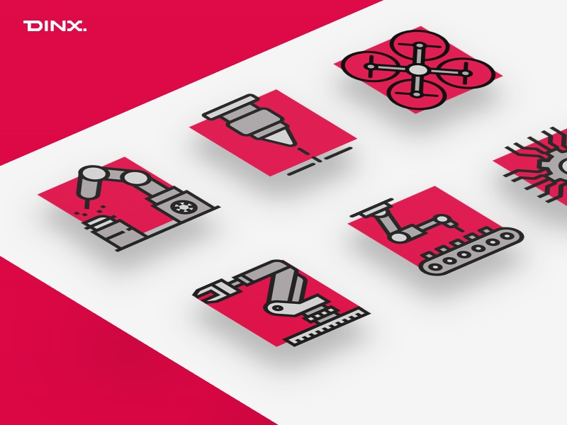 Icon Set - Dinx Automation square drone web clean minimal black red robot icon