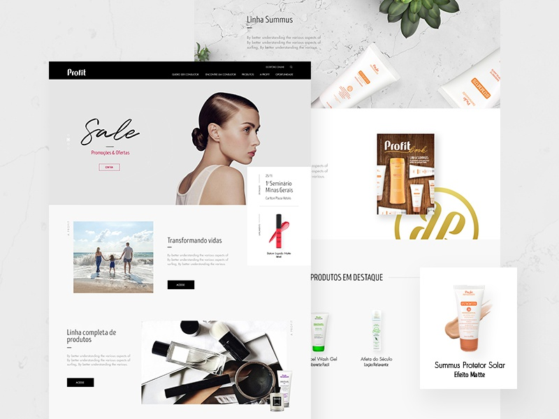 Cosmetics - Landing Page product banner home landing page cosmetic clean minimal