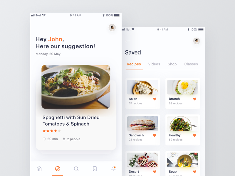 Food App app search ui clean minimal saved food recipe suggestion mobile