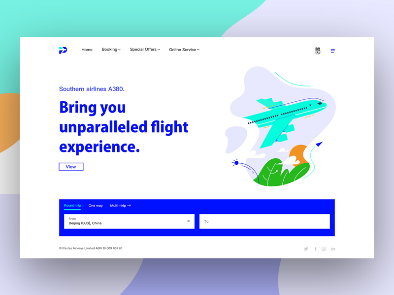 Airline homepage design ui web search round trip illustrations home concise aviation