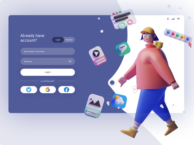 Switch button login page page register login girl dribble mobile character application ux ui design ui