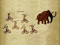 Cyclists hunting mammoth