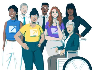 Advocacy solutions page header editorial wheelchair men women diverse diversity brand advocates digital drawing portrait illustration