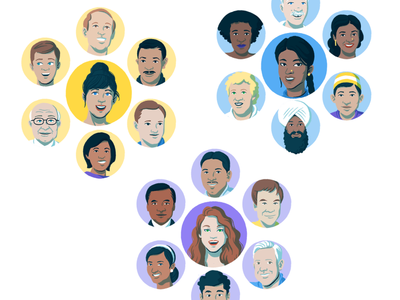 "Advocacy solutions page ""networks"" illustration family advocates networks diversity men women sketch digital drawing portrait illustration"