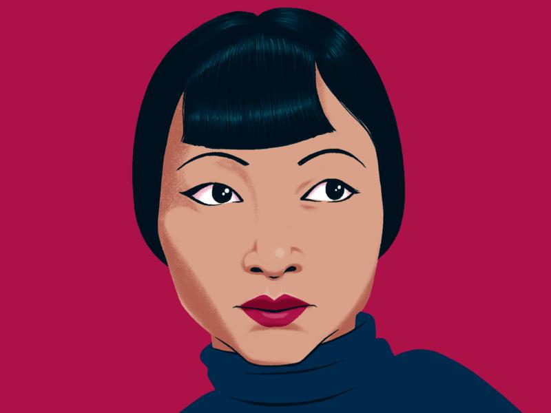 Anna May Wong portrait illustration hollywood asian american digital woman drawing illustration portrait art portrait