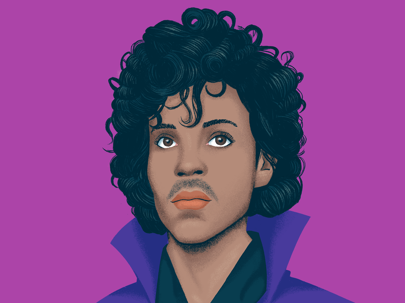 Prince purple rain purple minneapolis african american rock music heroes sketch digital drawing portrait illustration