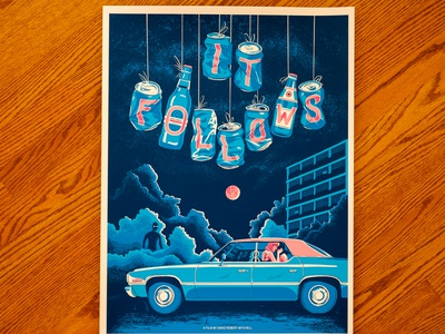 It Follows type design cans car blue film poster horror art horror drawing movie poster illustration screenprint