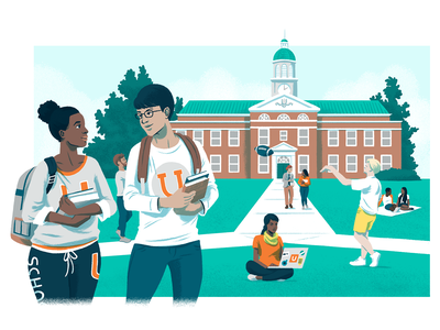 Higher Ed Industry Solutions Page Header editorial illustration higher education illustration digital tech people campus college university highered illustration