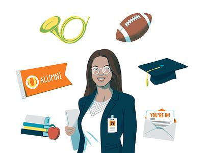 Higher Education Solutions Page Illustration university college marketing illustration editorial illustration product higher education digital woman portrait illustration