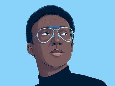 Arthur Ashe champion arthur ashe 70s racial justice social justice glasses racket tennis sports man digital drawing portrait illustration