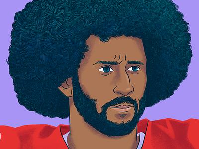 Colin Kaepernick social justice racial justice kneeling san francisco sports black lives matter football digital drawing portrait illustration