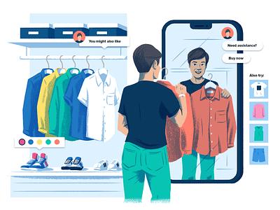 Social Commerce digital product ui e-commerce commerce clothing shopping retail web drawing illustration