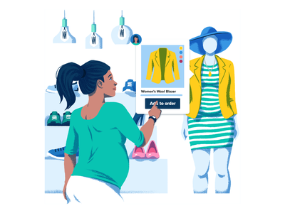 Social Commerce drawing digital product web instagram facebook shops mannequin pregnant woman e-commerce commerce shopping retail illustration
