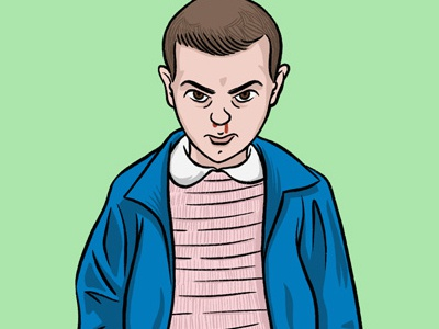 Eleven from Stranger Things (Revised) sci-fi girl jacket dress 80s portrait illustration netflix dustin eleven stranger things