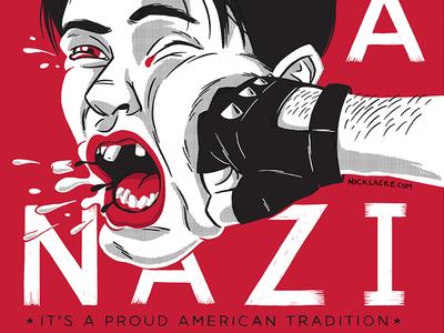 Punch A Nazi print poster screenprint trump nazi red punch fist political politics propaganda vintage illustration