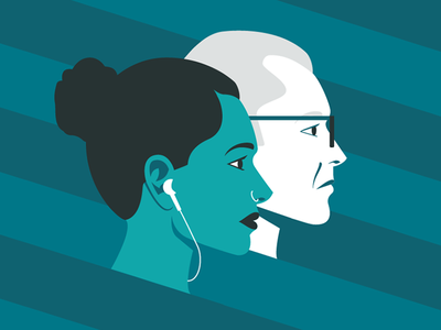 Building Millennial Workplace Cover Illustration profile work office earbuds woman man millennial portrait illustration