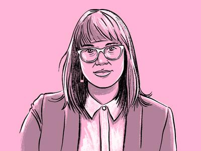 Editorial portrait style millennial business agency glasses jacket suit sketch woman portrait illustration
