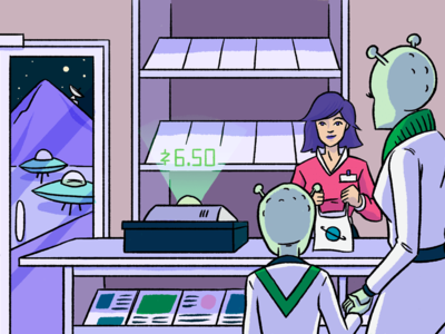 Your launchpad to success - small business illustration people portrait drawing illustration retail alien moon space store shop small business