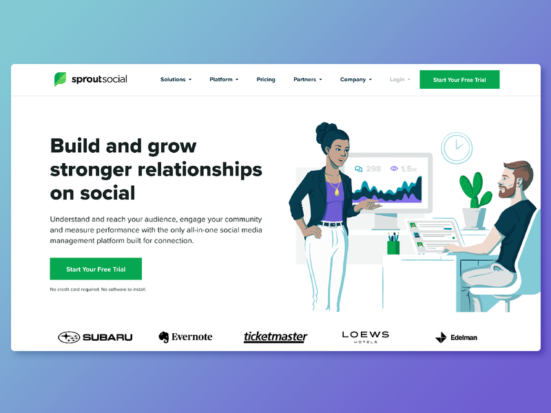 Sprout Social Homepage   Fall 2018 photoshop drawing digital portrait ilustrator diversity plants cactus editorial illustration woman people office webdesign website illustration